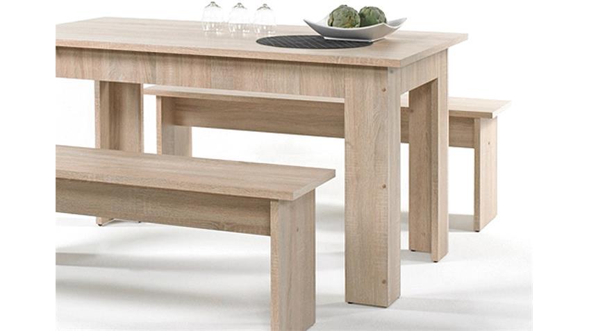 Tisch Bankgruppe CORPORAL Eiche inklusive 6 Sitzkissen braun