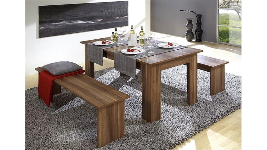 Tischgruppe CORPORAL Walnuss  inklusive Sitzkissen schwarz