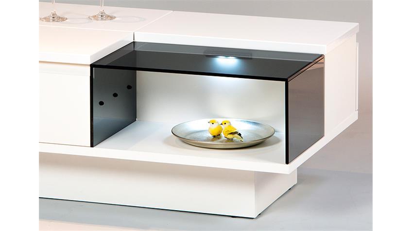 Couchtisch DUAL in Weiß mit beleuchtetem Glasfach 100x40