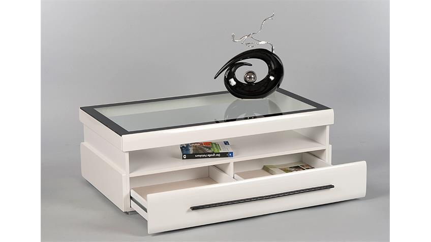 gitte couchtisch wei mit glasplatte und schubkasten. Black Bedroom Furniture Sets. Home Design Ideas