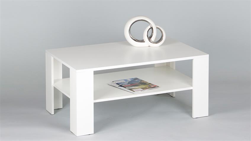 Couchtisch JOKER Tisch in Weiß mit Ablage B 100 cm