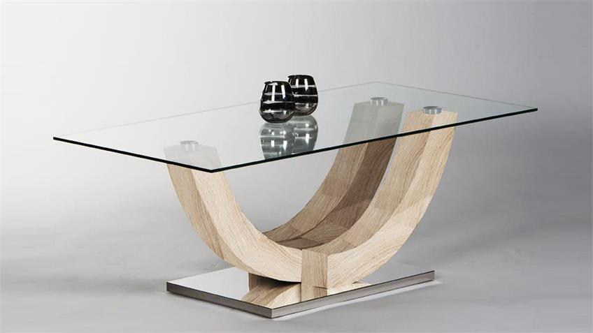 Couchtisch WINGO Klarglas MDF Eiche Sonoma 120x60 cm