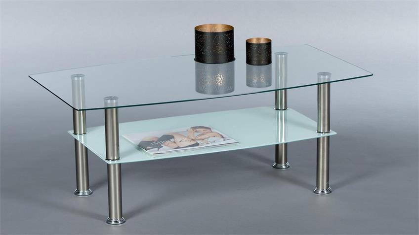 Couchtisch SABINA Glas Edelstahl Sandstrahloptik 90x53 cm