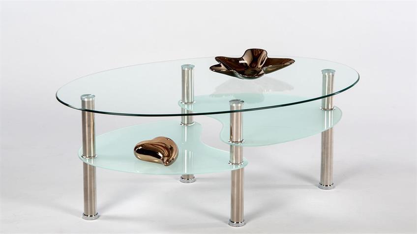 Couchtisch MALOK Klarglas Sandglas Edelstahl 90x55 cm
