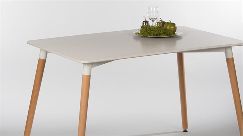 Esstisch IMOLA Weiß lackiert Füße Buche massiv 126x80 cm