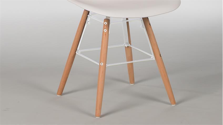 Stuhl Set RIVOLIS 4er Set Sitzschale Weiß Füße Buche massiv
