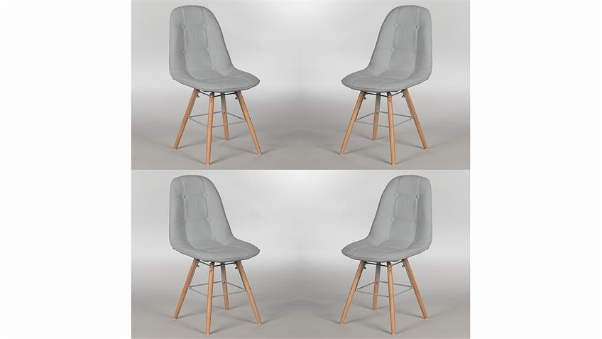 Stuhl Set TIVOLIS 4er Set Sitzschale Grau Füße Buche massiv