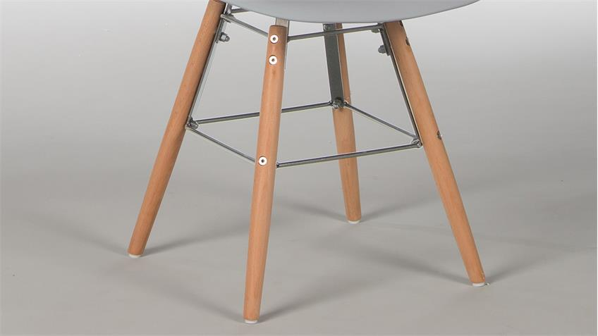 Stuhl Set RIVOLIS 4er Set Sitzschale Grau Füße Buche massiv