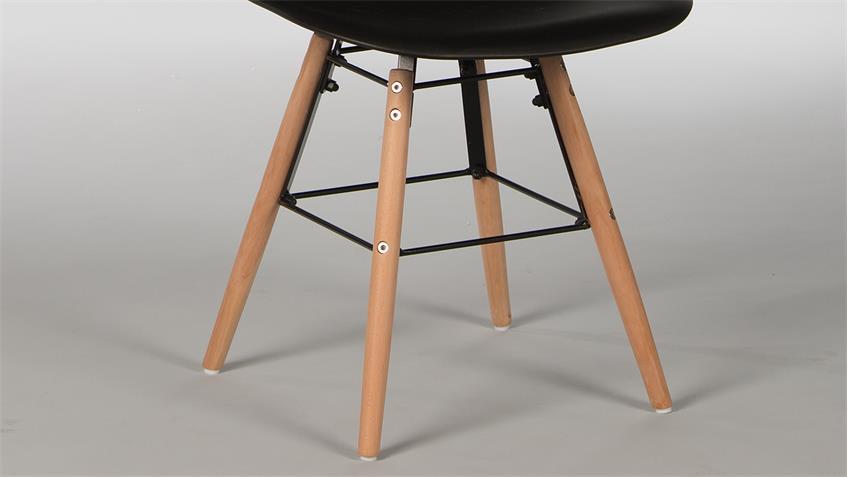 Stuhl Set RIVOLIS 4er Set Sitzschale Schwarz Füße Buche massiv