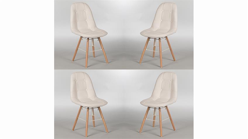 Stuhl Set TIVOLIS 4er Set Sitzschale Weiß Füße Buche massiv