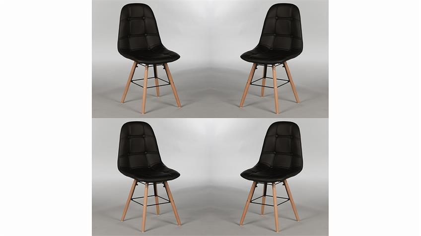 Stuhl Set TIVOLIS 4er Set Sitzschale Schwarz Füße Buche massiv