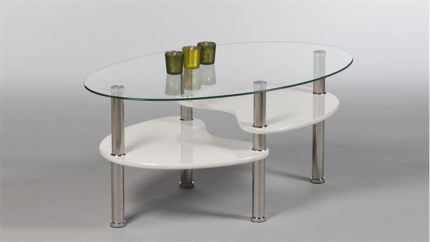 Couchtisch PANTY Beistelltisch Wohnzimmertisch Glas und weiß Lack
