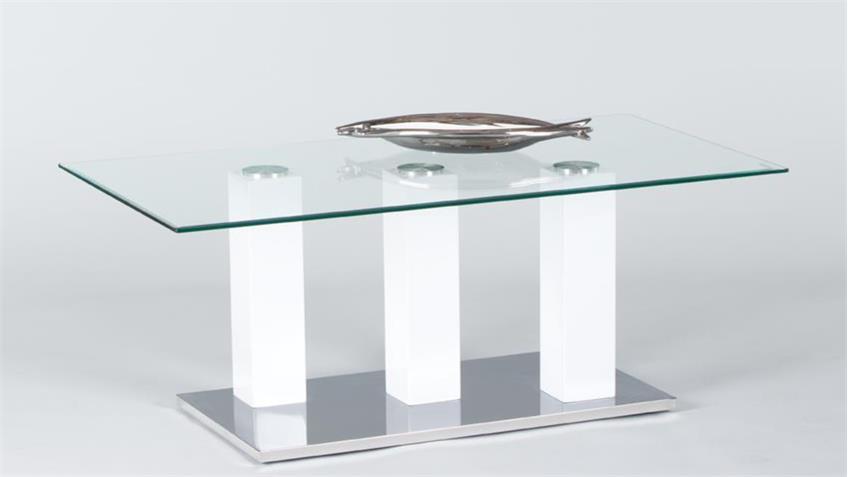 Couchtisch TOWERS Beistelltisch Wohnzimmertisch Glas und weiß 110