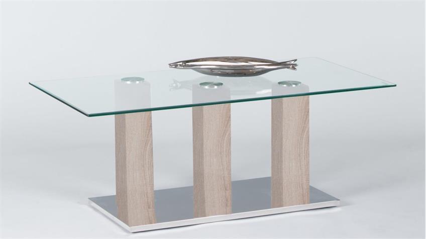 Couchtisch TOWERS Beistelltisch Wohnzimmertisch Glas Sonoma Eiche 110