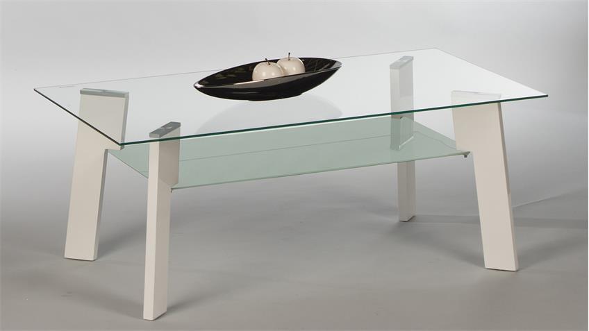 Couchtisch JOHNNY Beistelltisch Wohnzimmertisch Glas weiß Hochglanz