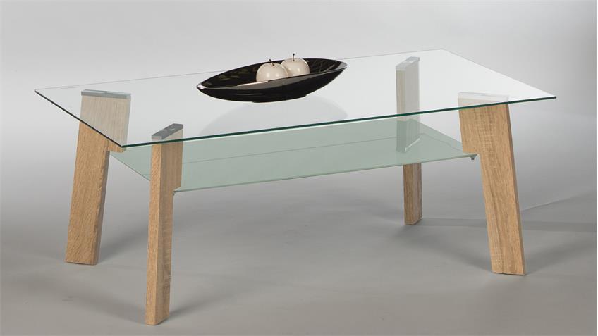 Couchtisch JOHNNY Beistelltisch Wohnzimmertisch Glas Sonoma Eiche
