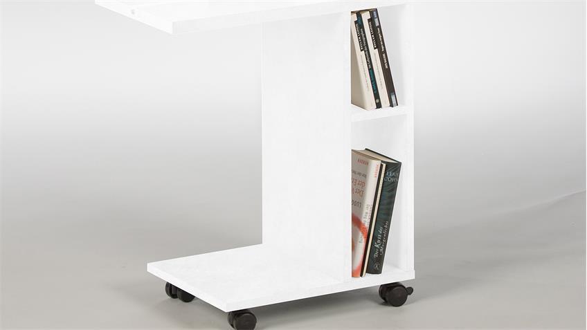 Beistelltisch LATINO Tabletrtisch Nachttisch Regal in weiß auf Rädern