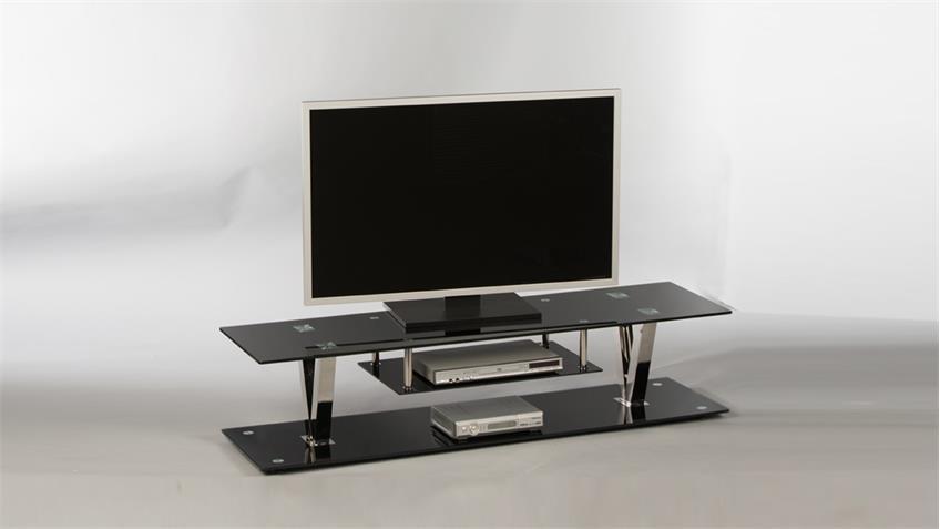 Lowboard BITONTO TV-Board Unterschrank mit Glas in schwarz lackiert