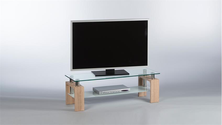 Lowboard MANO TV-Board Ablage in Sonoma Eiche mit Glas 120 cm