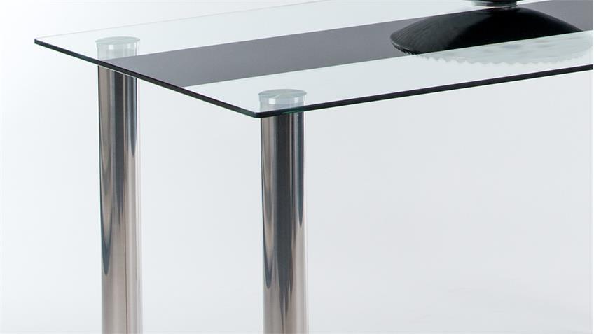 Esstisch BRAKE Esszimmertisch Tisch mit Glas und Chrom 140 cm