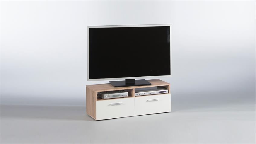 Lowboard RANA TV-Board Unterschrank in Sonoma Eiche und weiß 95 cm