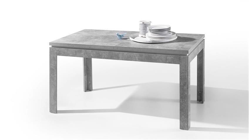 esstisch stone esszimmer tisch beton grau und wei hochglanz 140 180. Black Bedroom Furniture Sets. Home Design Ideas