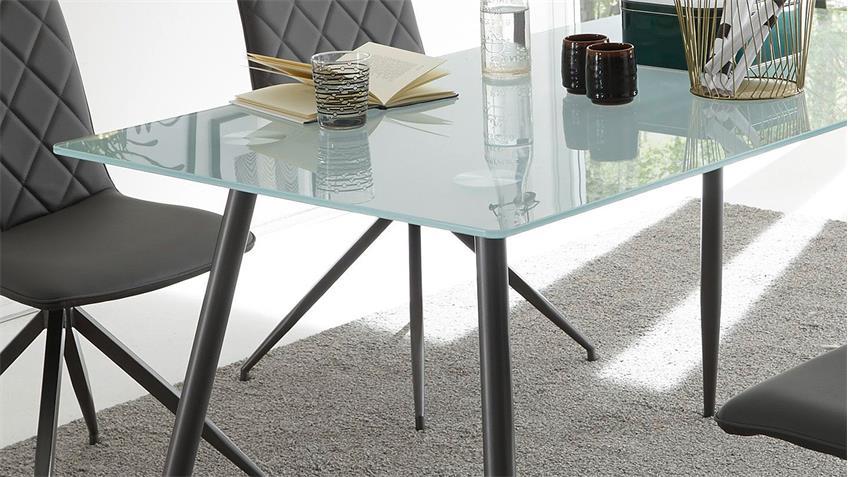 esstisch kasia glasplatte sandgestrahlt gestell metall graphit 140x80. Black Bedroom Furniture Sets. Home Design Ideas