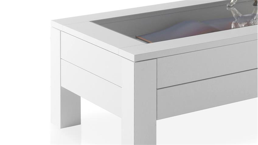 Couchtisch Fabian weißer Wohnzimmertisch Tisch mit Klarglas 110x60 cm
