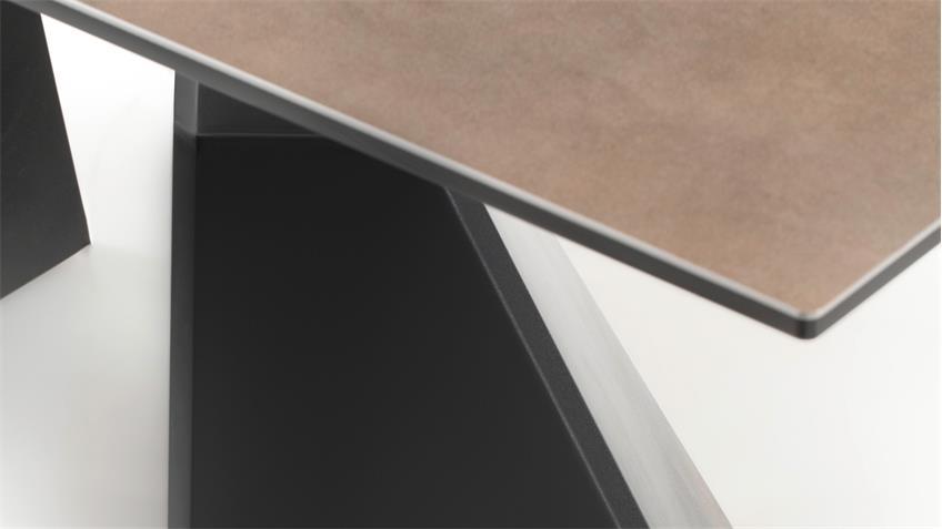 Esstisch ROBINSON Keramik Glas Taupe Synchronauszug