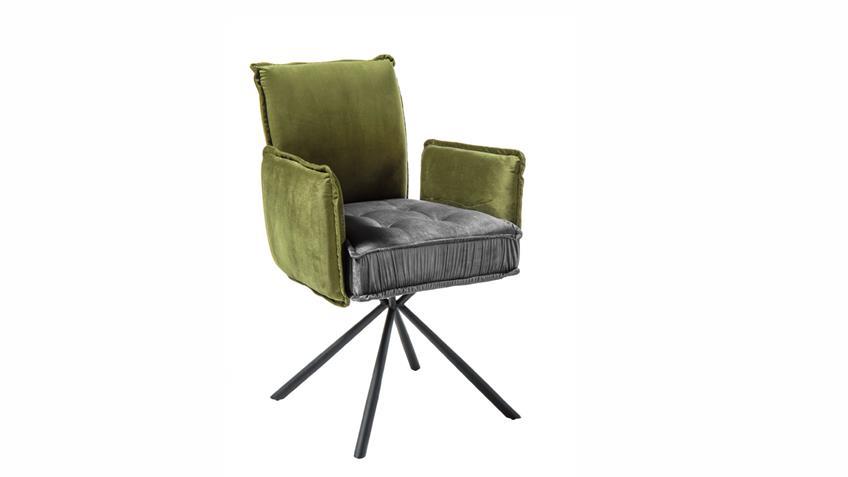 Stuhl JOELLE Stoffmix grün grau Samt Esszimmer Armlehnstuhl