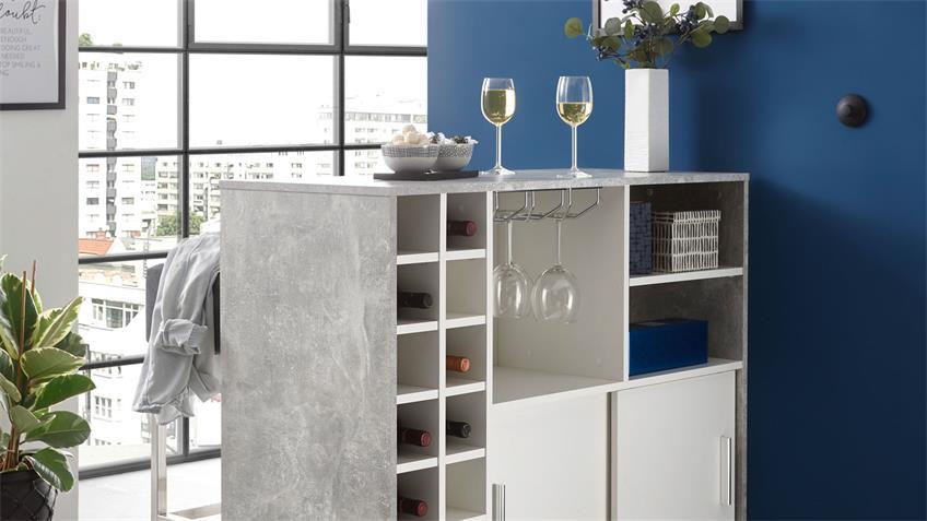 Bartisch PLANTER Beton-Optik weiß Flaschenregal 14 Fächer