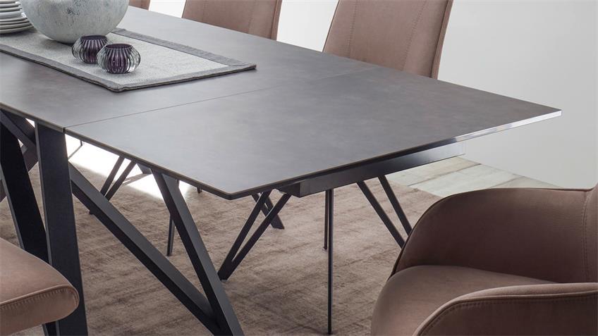 Ausziehtisch CHARLY in Glas Keramik grau schwarz 180-280