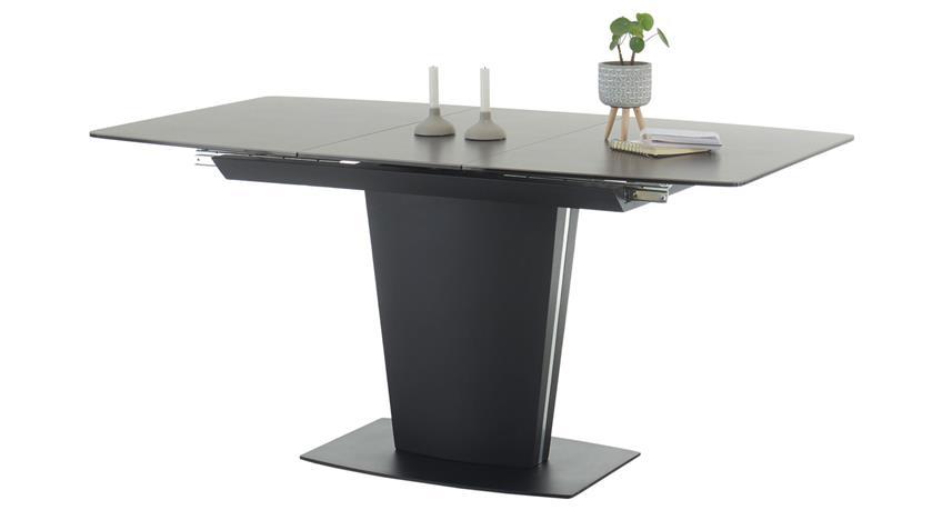 Ausziehtisch SERGIO Glas Keramik braun schwarz 120-160 cm