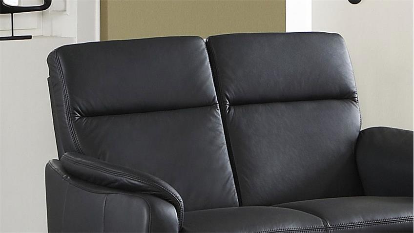 Sofa BORNHOLM 2-Sitzer Echtleder schwarz Nosagfederung