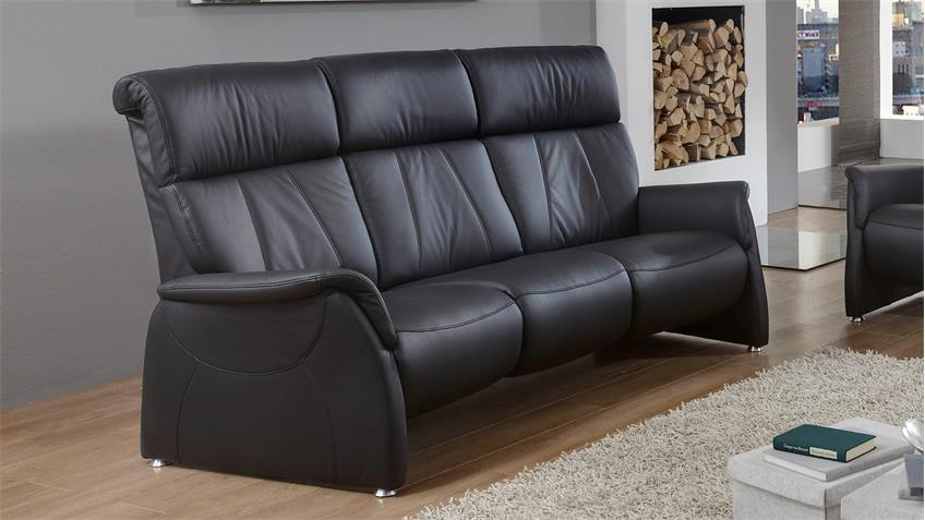 Sofa MAGIC RELAXX 3-Sitzer Echtleder schwarz Nosagfederung