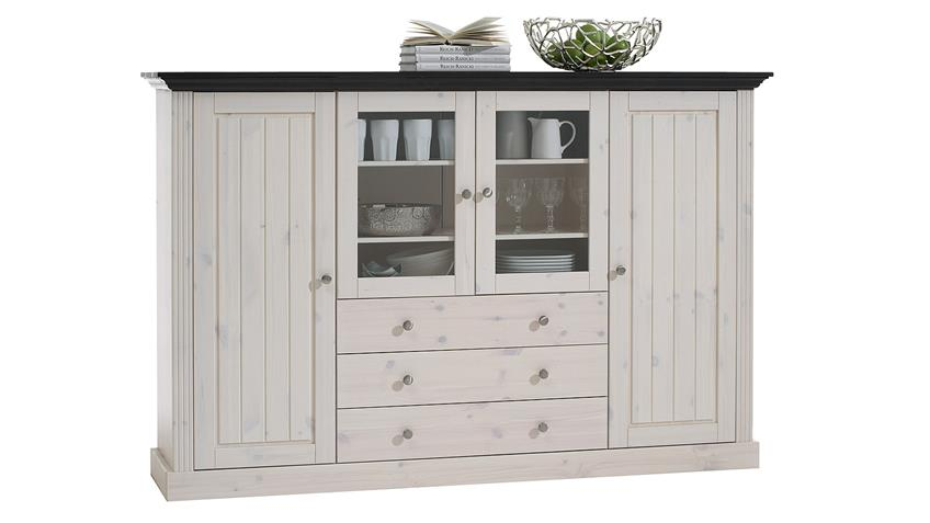 Highboard MONACO Kiefer massiv Weiß White Wash Kolonial