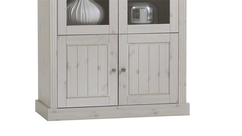 Vitrine MONACO Kiefer massiv Weiß White Wash Kolonial 104 cm