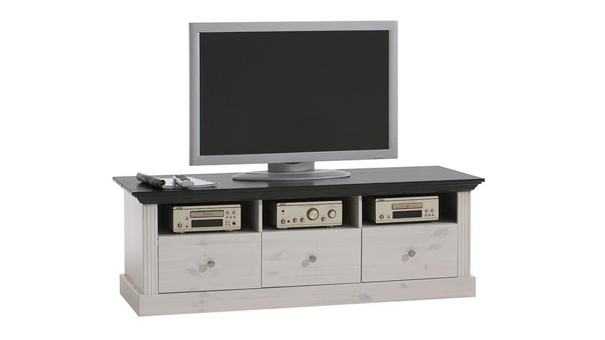 TV-Board MONACO Kiefer massiv Weiß White Wash kolonial