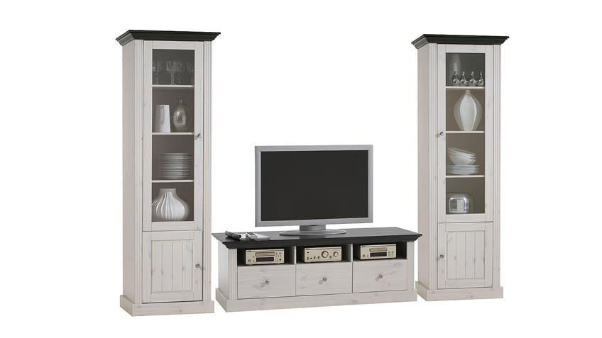 wohnwand monaco kiefer massiv wei white wash kolonial. Black Bedroom Furniture Sets. Home Design Ideas