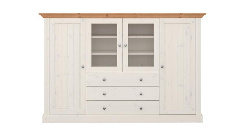 Highboard MONACO Kiefer massiv Weiß White Wash Provence