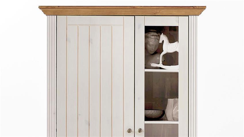 Vitrinenschrank MONACO Kiefer massiv Weiß White Wash Provence