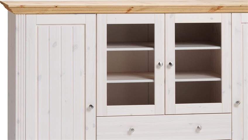 Highboard MONACO Kiefer massiv Weiß White Wash Gelaugt