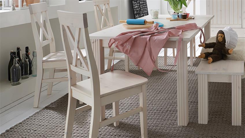 Tischgruppe MONACO Kiefer massiv Weiß White Wash