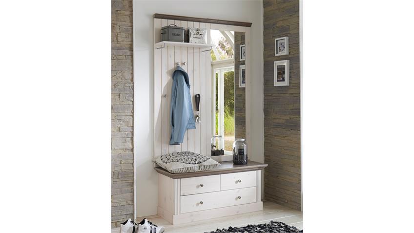 Garderobe MONACO Kiefer massiv White Wash Stone Landhaus