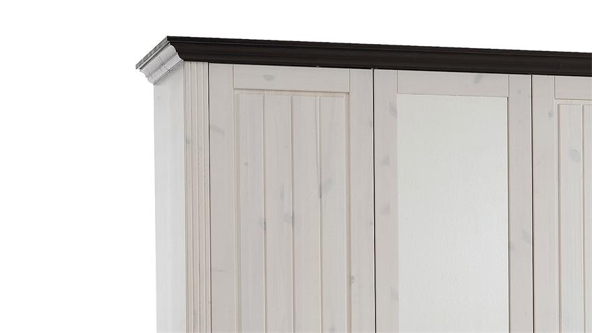 Kleiderschrank MONACO Kiefer massiv White Wash Kolonial B 145 cm