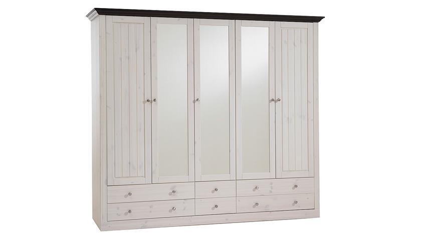 Kleiderschrank MONACO Kiefer massiv White Wash Kolonial B 228 cm