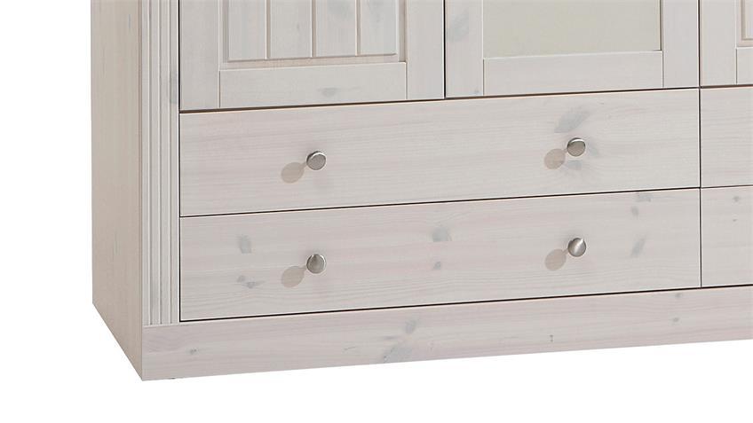 Kleiderschrank MONACO Kiefer massiv White Wash Stone B 145 cm