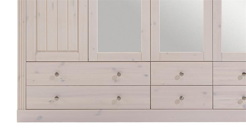 Kleiderschrank MONACO Kiefer massiv White Wash Stone B 228 cm