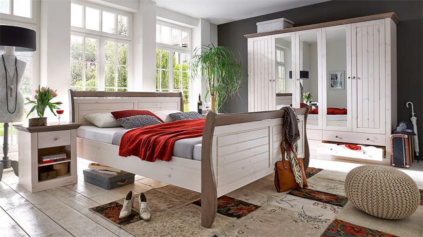 Schlafzimmer MONACO Kiefer massiv White Wash Stone