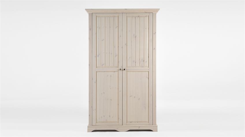 Kleiderschrank LOTTA Kiefer masssiv Weiß White Wash B 120 cm